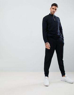 ASOS DESIGN tracksuit half zip sweatshirt/slim joggers in black pique
