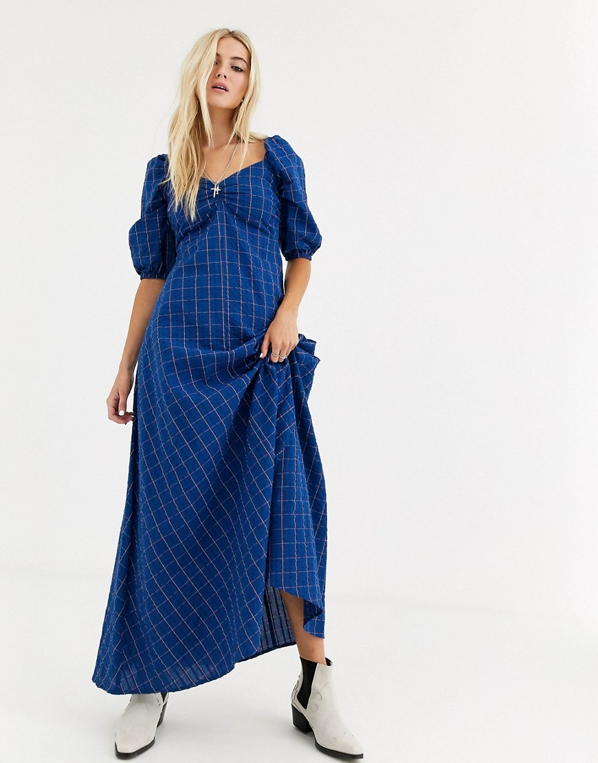 asos design trapeze maxi dress in check-multi