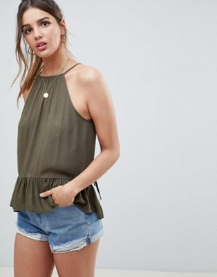 ASOS DESIGN trapeze top in crinkle