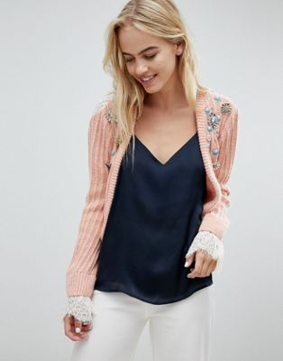 ASOS DESIGN trophy cardigan with embellishment and lace back