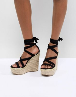 ASOS DESIGN Trophy Tie Leg High Wedges