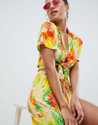 Image 1 of ASOS DESIGN tropical tie front beach shirt