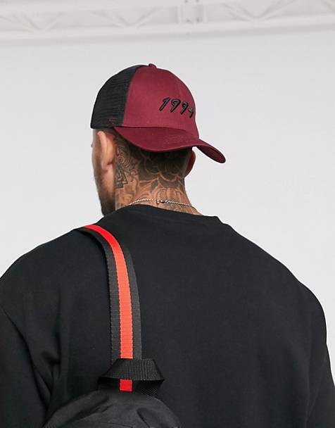 ASOS DESIGN trucker hat in burgundy with 1994 embroidery