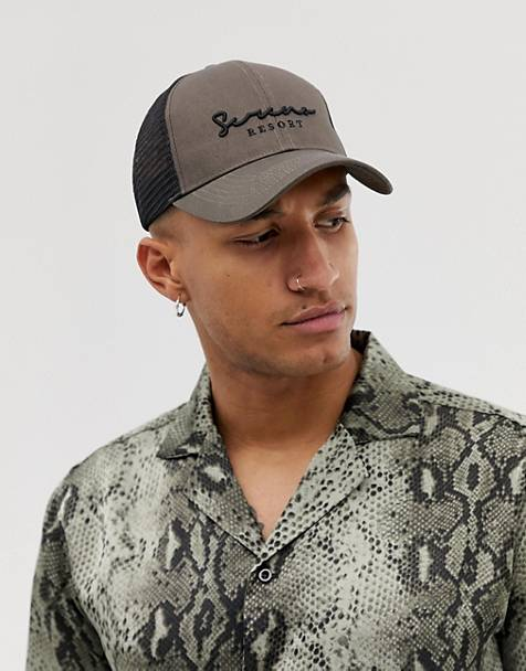 ASOS DESIGN trucker in khaki with script embroidery