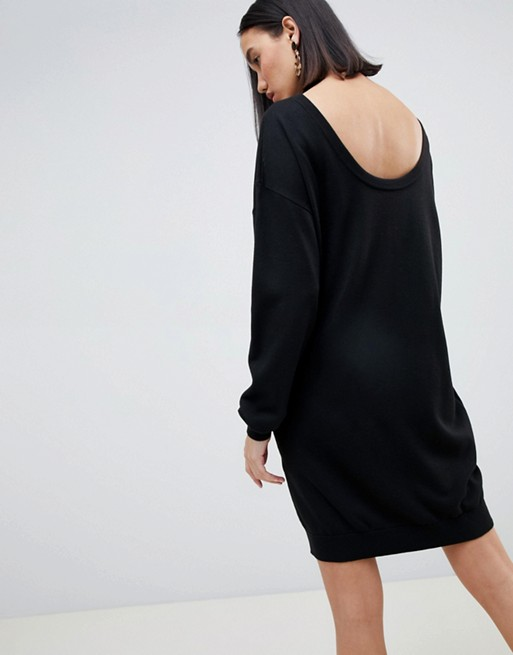 Afbeelding 1 van ASOS DESIGN - Trui-jurk met laag uitgesneden achterkant van ecologisch garen