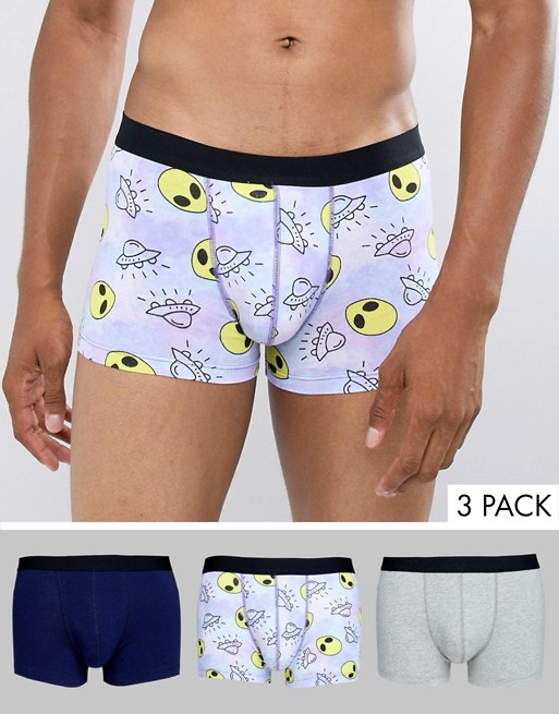 Image 1 of ASOS DESIGN trunks with alien print 3 pack multipack saving