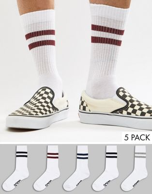 ASOS DESIGN Tube Style Socks With Classic Color Stripes & Branded Soles 5 Pack