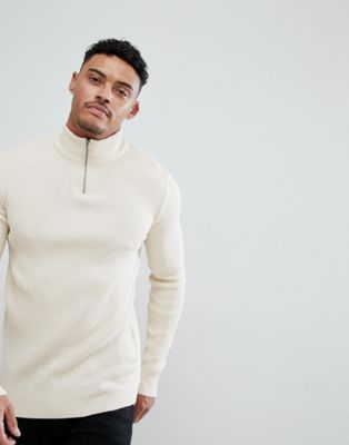 ASOS DESIGN turtle neck ribbed jumper with zip in oatmeal