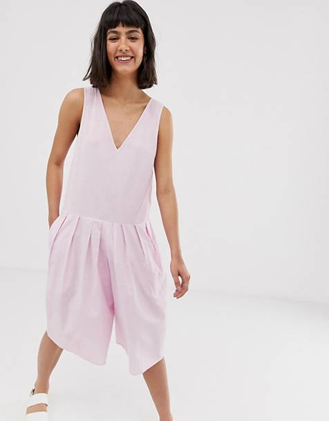 c9da15a4bfe3 ASOS DESIGN - Tuta jumpsuit in lino con vita scesa e gonna a pantalone corta