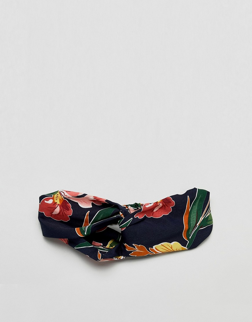 Asos Design Twist Front Headband In Dark Floral Print by Asos Design