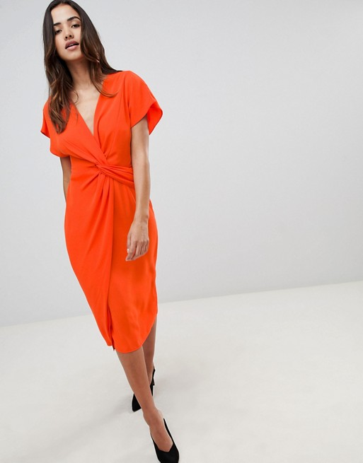 Image 1 of ASOS DESIGN Twist Midi Dress With Kimono Sleeve