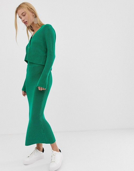 ASOS DESIGN two-piece chunky midi skirt in eco yarn