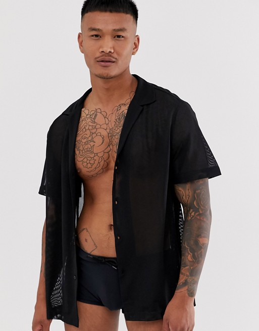 Image 1 of ASOS DESIGN two-piece oversized mesh shirt in black