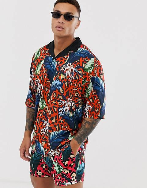 ASOS DESIGN two-piece oversized revere polo with floral and leopard print