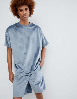 ASOS DESIGN two-piece oversized t-shirt in velour pinstripe
