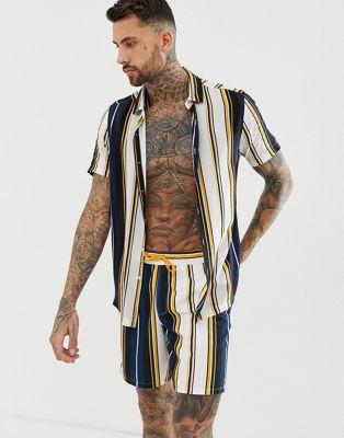 ASOS DESIGN two-piece regular fit stripe shirt in navy and mustard