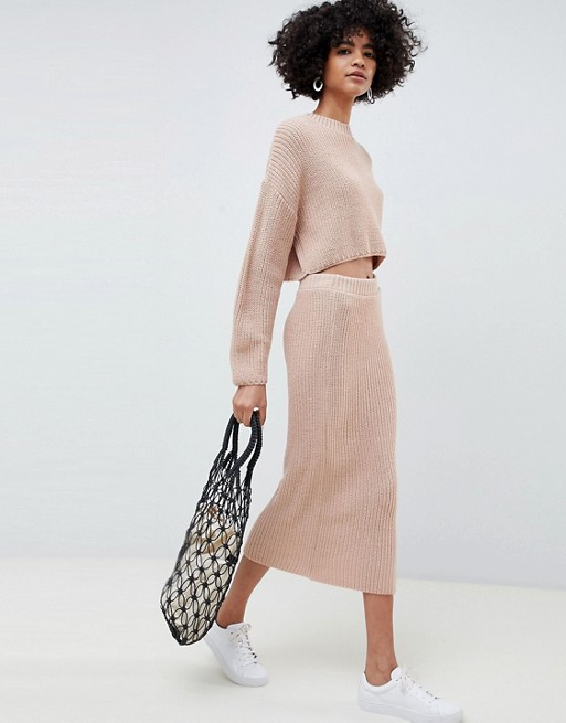 Image 1 of ASOS DESIGN two-piece skirt in rib knit