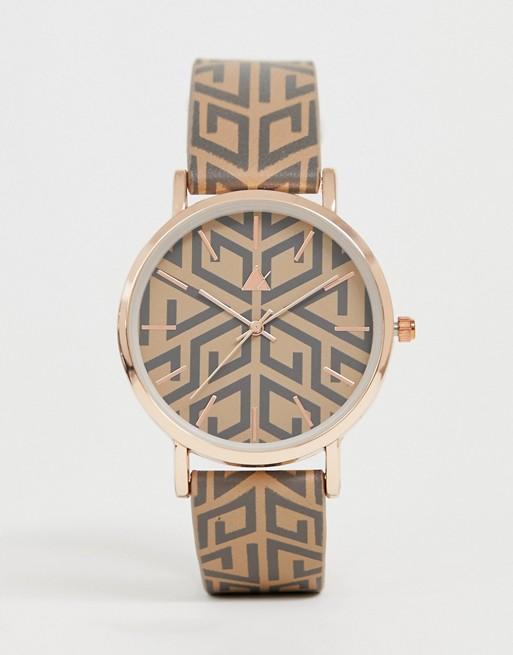 Bild 1 von ASOS DESIGN – Uhr mit Monogramm und goldenem Gehäuse