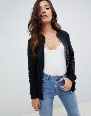 ASOS DESIGN ultimate bomber jacket in sweat in black