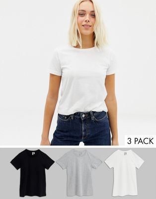 ASOS DESIGN - ultimate - Lot de 3 t-shirts ras de cou - ÉCONOMIE