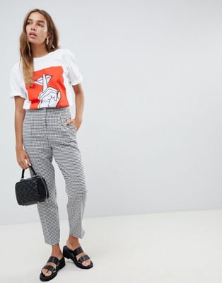 ASOS DESIGN ultimate mono check ankle grazer trousers in dogstooth