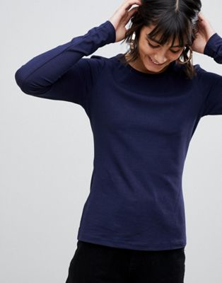 Image 1 of ASOS DESIGN ultimate top with long sleeve and crew neck in navy