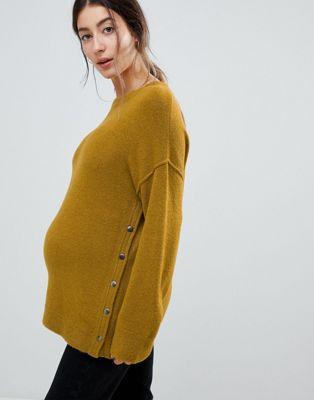 ASOS DESIGN – Umstandsmode – Flauschiger Still-Pullover mit seitlichen Druckknöpfen