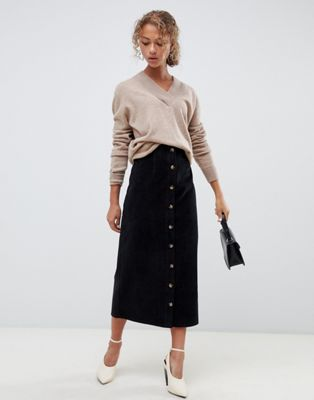 ASOS DESIGN uncut cord button through midi skirt in washed black