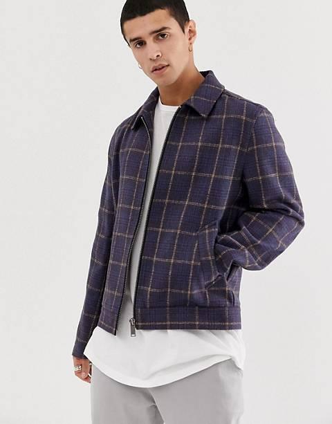 ASOS DESIGN unlined wool mix zip through jacket in navy check