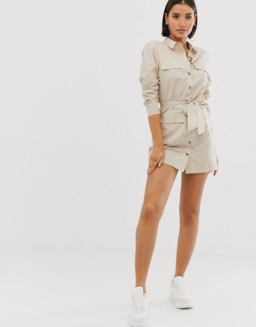Asos Design Utility Belted Mini Cotton Shirt Dress by Asos Design