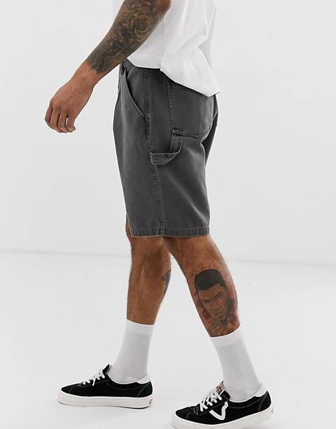 ASOS DESIGN utility shorts in washed gray heavyweight canvas