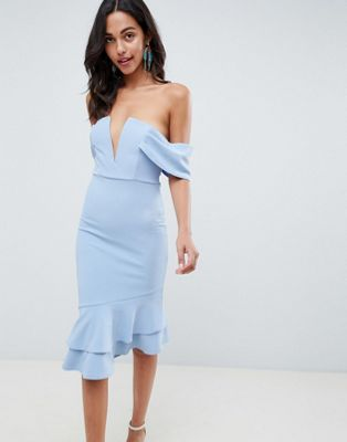 ASOS DESIGN V Bar Textured Midi Bodycon Pephem Dress