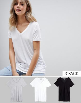 ASOS DESIGN v-neck swing t-shirt 3 pack save 8%