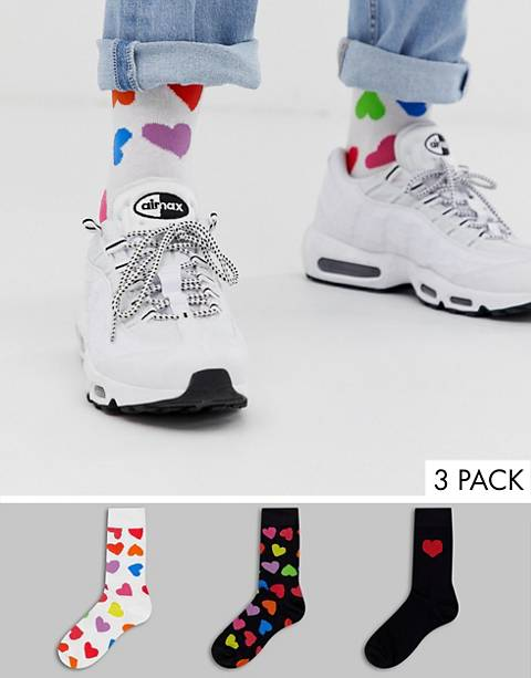 ASOS DESIGN valentines ankle socks with all over multi colored hearts 3 pack