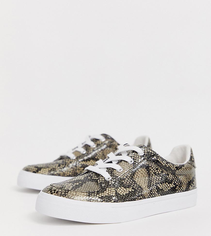 asos design -  – Value – Sneaker mit Schlangenmuster und weiter Passform-Mehrfarbig