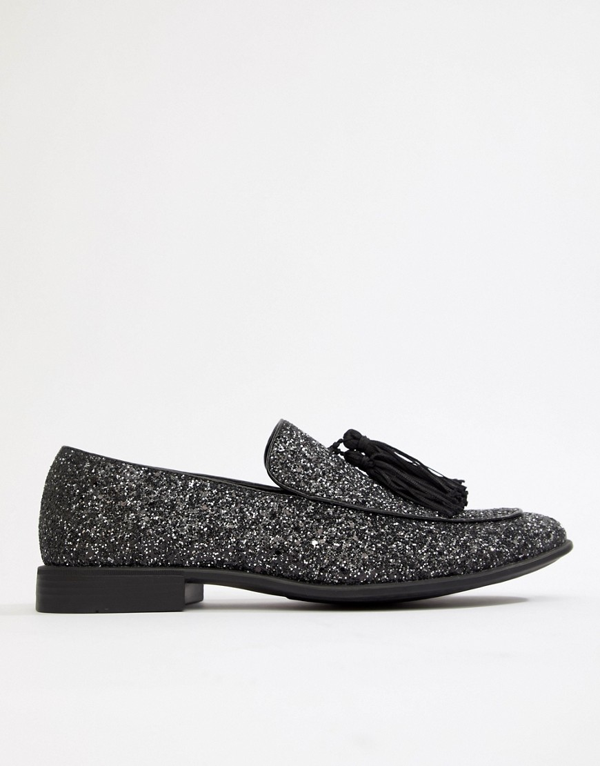 Asos Design Vegan Friendly Loafers In Black Glitter by Asos Design