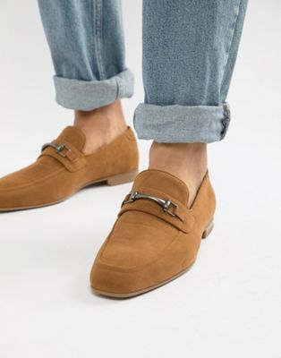 ASOS DESIGN vegan friendly loafers in tan faux suede with snaffle detail