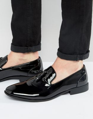ASOS DESIGN - Vegan loafers met kwastjes in zwart lakleer