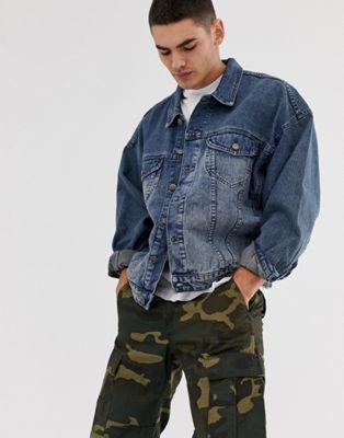 ASOS DESIGN - Veste en jean oversize à délavage moyen