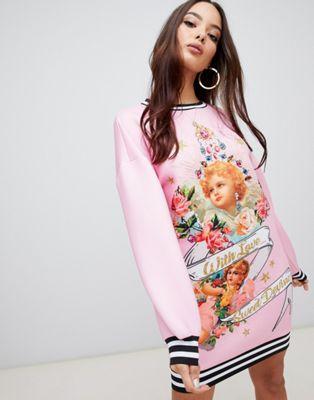 ASOS DESIGN - Vestito gioiello felpato effetto scuba con stampa di cherubini