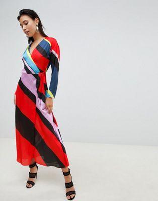 ASOS DESIGN - Vestito lungo a portafoglio a righe vivaci