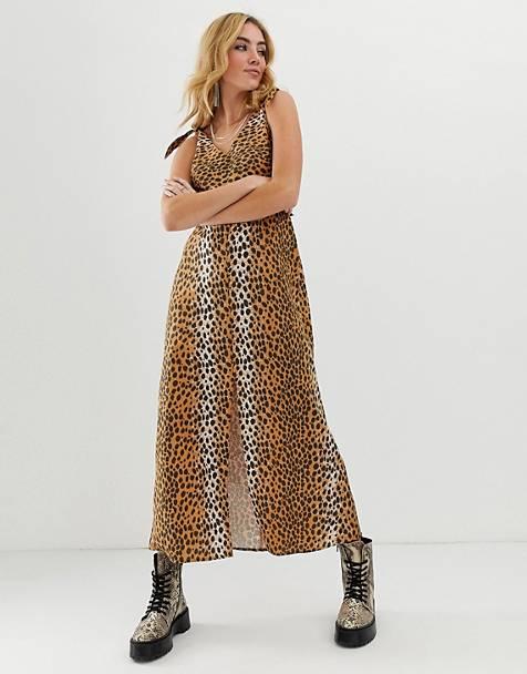 c6ff6f14bbeed2 ASOS DESIGN - Vestito lungo in lino leopardato allacciato dietro