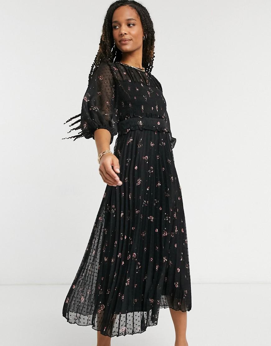 Multicolore donna Vestito midi a pieghe in plumetis con stampa a fiori - ASOS DESIGN - Multicolore moda abbigliamento - immagine 1