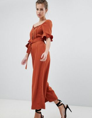ASOS DESIGN vintage tea jumpsuit in washed satin