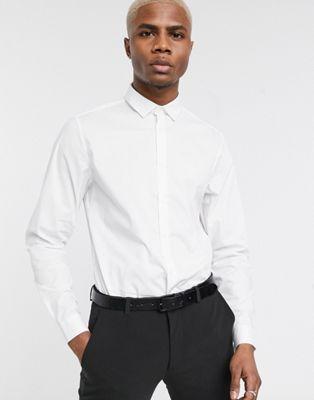 ASOS DESIGN – Vit, slim, formell arbetsskjorta i stretchtyg