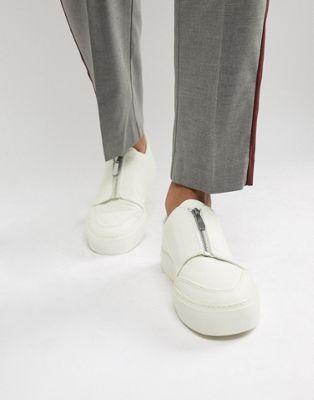ASOS DESIGN — Vita sneakers med dragkedja