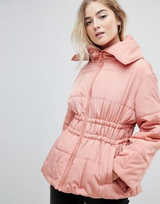 ASOS DESIGN waisted quilted puffa jacket