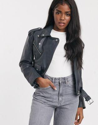 ASOS DESIGN off the shoulder leather look biker jacket in white - ASOS Price Checker