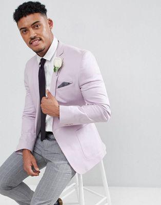 ASOS DESIGN Wedding - Blazer super ajusté en coton - Lilas
