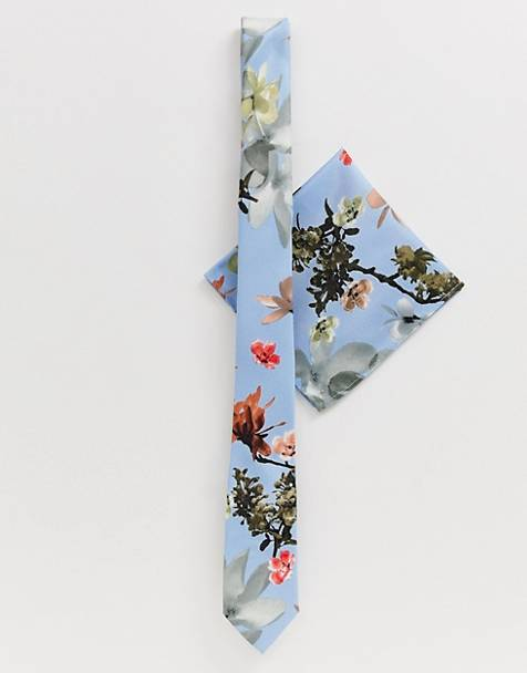ASOS DESIGN wedding blue floral bow tie & pocket square